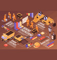 isometric mining tools flowchart vector image
