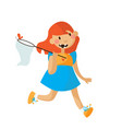 little girl running in a bright dress with scoop vector image