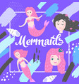 mermaids design in childish style kids background vector image