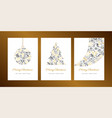 merry christmas greeting card template set vector image vector image