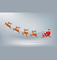 merry christmas santa claus drive sleigh reindeer vector image vector image