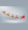 merry christmas santa claus drive sleigh reindeer vector image