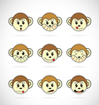 Monkey head vector image