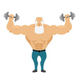 Old Santa trains with free weights Old man with a vector image