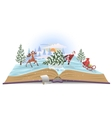 Open book about Santa and christmas tree vector image vector image