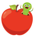 red apple and worm vector image vector image