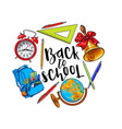 round frame of school items backpack with place vector image vector image