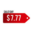 sale day 777 red tag background image vector image vector image