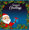 santa claus on christmas card template vector image vector image