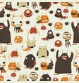 seamless pattern with cute colorful monsters on vector image vector image