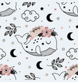 seamless pattern with cute floral whale vector image vector image
