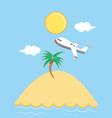 seascape beach with airplane scene vector image