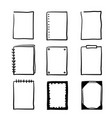 set hand-drawn doodle frames isolated on white vector image vector image