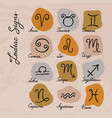 Set hand-drawn zodiac signs icons on