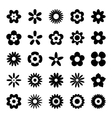 Set of Black Flower Icons Isolated on White vector image