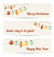 Set of retro banners with garlands christmas vector image vector image