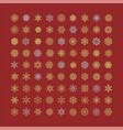 set of snowflakes line icons on red background vector image