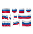 set russia flags banners banners symbols flat vector image vector image