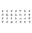 sport people simple flat glyph icons vector image