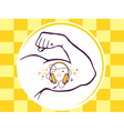 strong man hand with icon of headphones vector image vector image