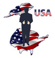 the silhouette of the president on the usa map vector image