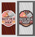 vertical banners for butcher shop vector image vector image