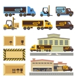 Warehouse building and transportation vehicles vector image vector image