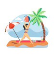 young girl playing with ball on beach flat vector image