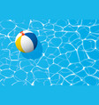 beach ball floating in a blue swimming pool vector image