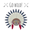 cat in native american Indian war bonnet vector image