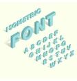 Isometric blue alphabet font vector image