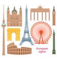 european most famous sights flat set vector image