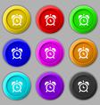 alarm clock icon sign symbol on nine round vector image vector image