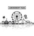 amusement park silhouette banner design vector image vector image
