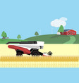 autonomous harvester on the field vector image