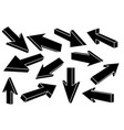black flat arrows set of straight signs vector image vector image