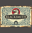 blacksmith antique sign with horse graphic vector image