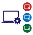 blue laptop and gear icon on white background vector image vector image