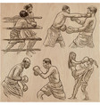 box boxing sport collection of boxing positions vector image