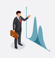 businessman with a briefcase points to a chart or vector image vector image