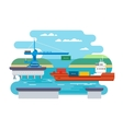 Cargo Freight Shipping by Water vector image vector image