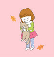 cartoon cute autumn girl and cat hugging vector image vector image