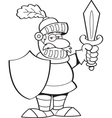 Cartoon knight holding a sword and a shield