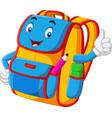 cartoon school backpack giving thumbs up vector image