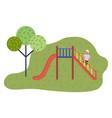 children s red slide playground equipment slide vector image