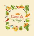 cinco de mayo mexican celebration guitar cactus vector image vector image