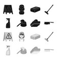 cleaning and maid blackmonochrome icons in set vector image vector image
