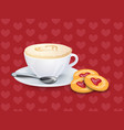 cup with coffee spoon and cookies on a pattern vector image vector image