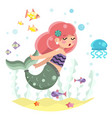 cute bodypositive mermaid girl swimming in sea vector image