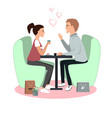 cute girl and boy in cafe happy valentines day vector image